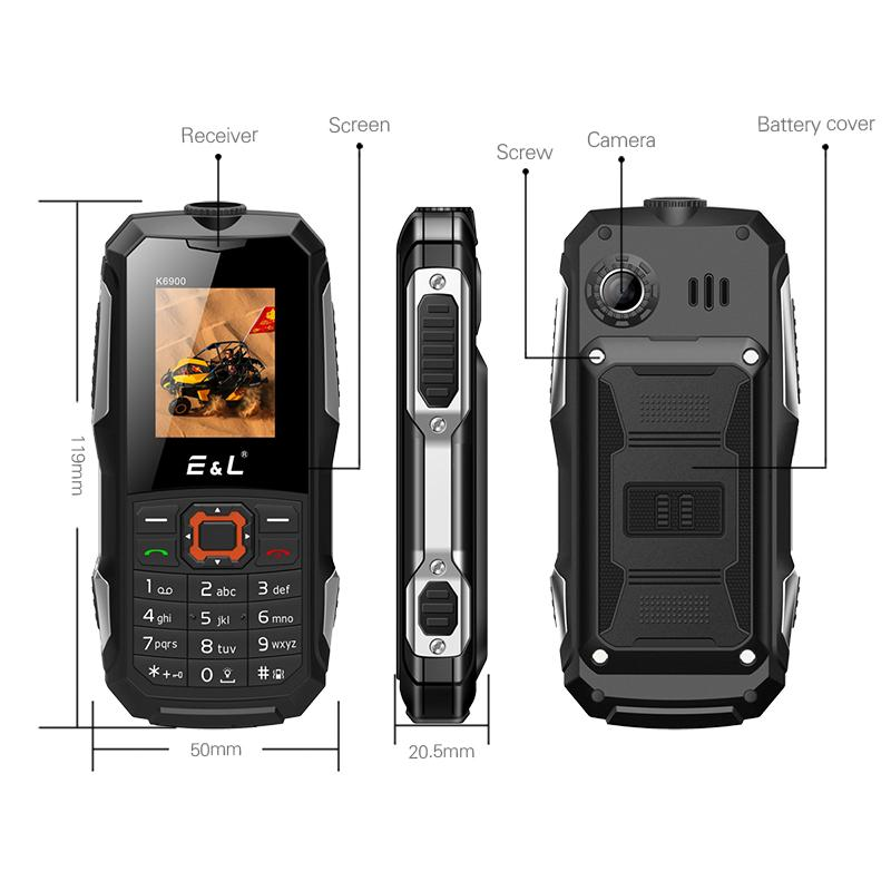 K6900 Mobile Phone 1.8Inch Screen Elder Phone FM Radio Strong LED Light 2MP Camera Dual Sim Card Cellphone