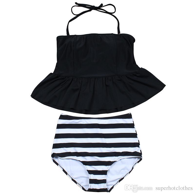 2017 Nouveau Bikinis Taille Haute Maillot De Bain Femmes Tankini Maillot De Bain Bikini Set Vintage Rétro Plus Taille Maillots De Bain Dress 3XL