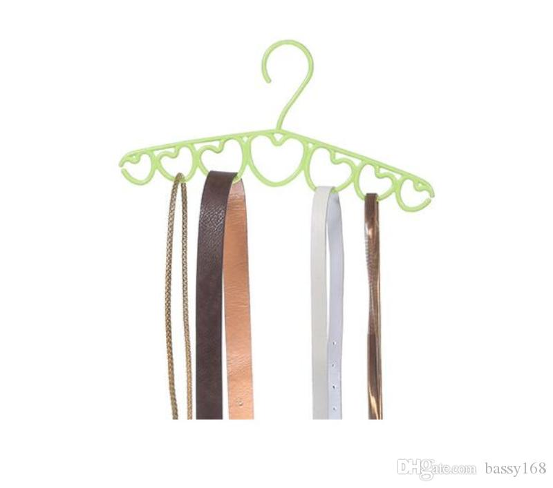 Newest Prastic 7 Rings Hole Heart Scarf Belt Tie Necktie Clothes Rack Hanger Loop Save Space for Closet office Home Hangers