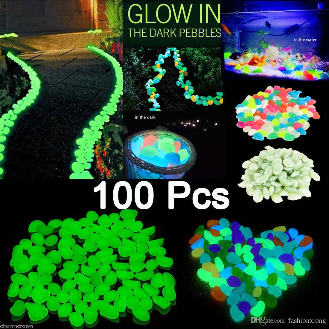 100x Glow In The Dark Pebbles Stone Home Garden Walkway Aquarium ...