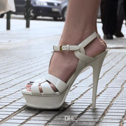 Yeni haraç patent / yumuşak deri platformu sandalet kadın ayakkabı t- kayışı yüksek topuklu sandalet bayan ayakkabı pompaları orijinal deri