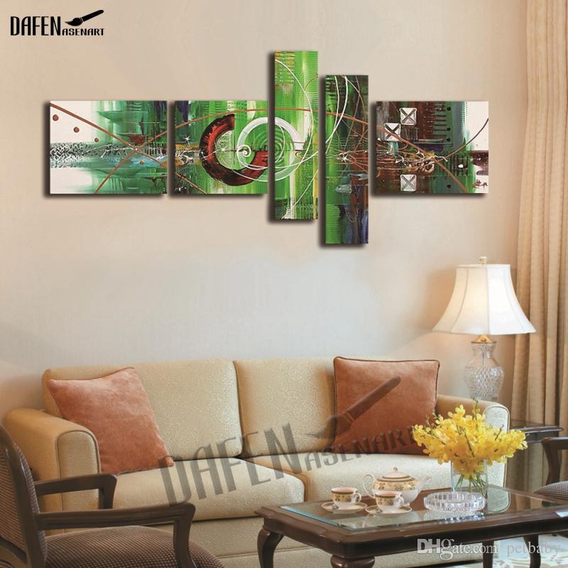 Peint à la main cercle peinture à l'huile abstraite peinture sur mur moderne de toile sans cadre / set illustration pour salon décoration de la maison