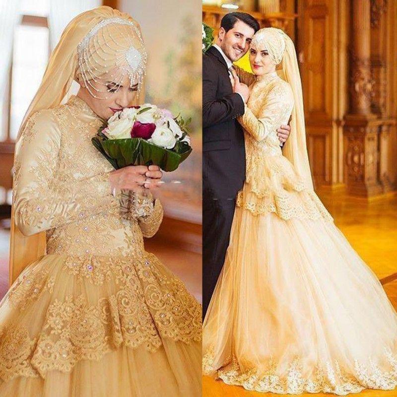 Discount Light Gold Muslim Wedding Dresses High Neck Lace Appliques ...