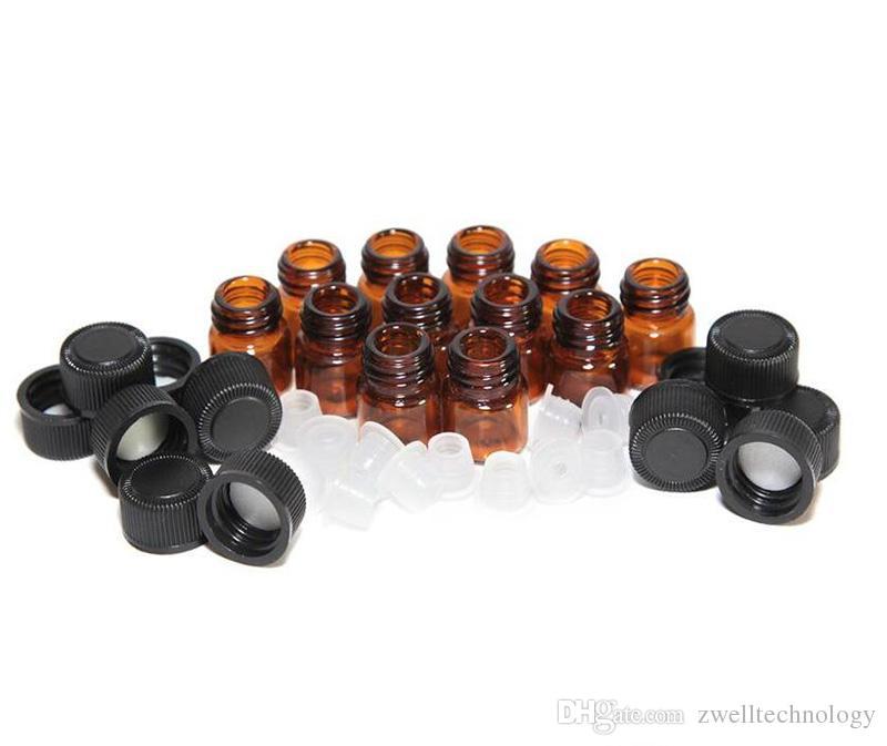 Provette profumi da 1ml 2ml 3ml 1/4 dram in vetro ambrato bottiglia di olio essenziale Bottiglia con tappo e tappi 5/8 dram