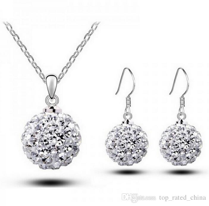 Fashion 925 Sterling Silver Plated Shambala Ball dangle Earrings Necklace Diamond Crystal Disco Beads Earrings Necklace Jewelry Set