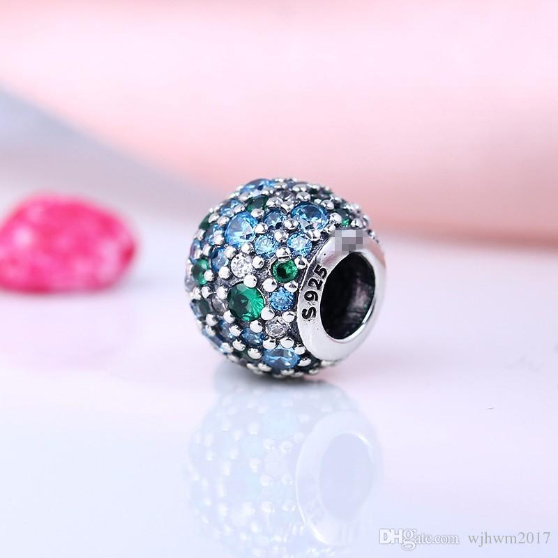 Authentic 925 Sterling Silver Pave Blue Crystal Beads with Multicolor Bead For Brand Logo Bracelets DIY Jewelry Making Accessories HB278