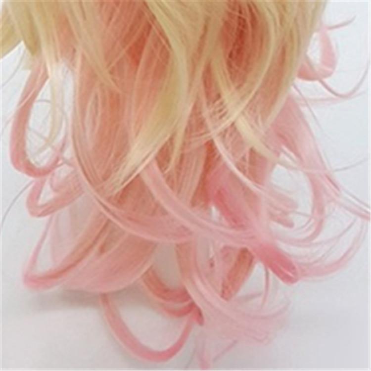 XT934 Fashion Mix color Blonde Pink Gradient De Couleur 24 pulgadas Largas Pelucas Rizadas Profundas Explosión Oblicua Lolita Cosplay Natural Peluca Pelo Sintético
