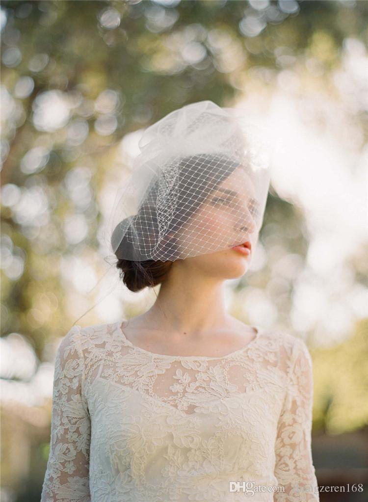 Tarak Ile büyüleyici beyaz Çift Katmanlı Birdcage Veil Düğün Aksesuarları Gelin Gelin Için Tam Birdcage Peçe Sheer Peçe