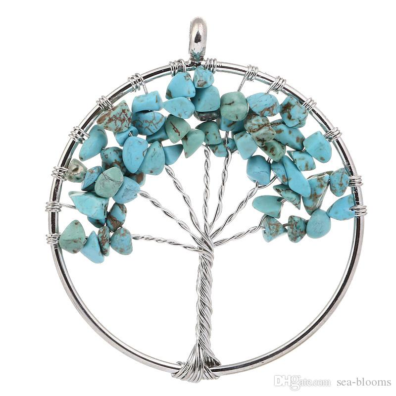 Copper Wire Wrapped Gravel Natural Stone Life Tree Pendant Women Jewelry Luck Accessory Gravel Crystal Pendant D88S