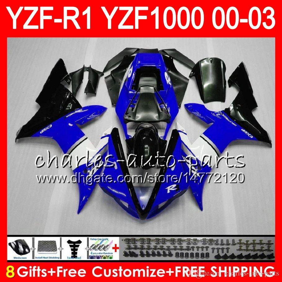 8Gift 23Corpo Cor Para YAMAHA YZF R1 YZF 1000 YZFR1 02 03 00 01 azul preto 62HM22 YZF1000 R 1 YZF-R1000 YZF-R1 2002 2003 2000 2001 Carenagem