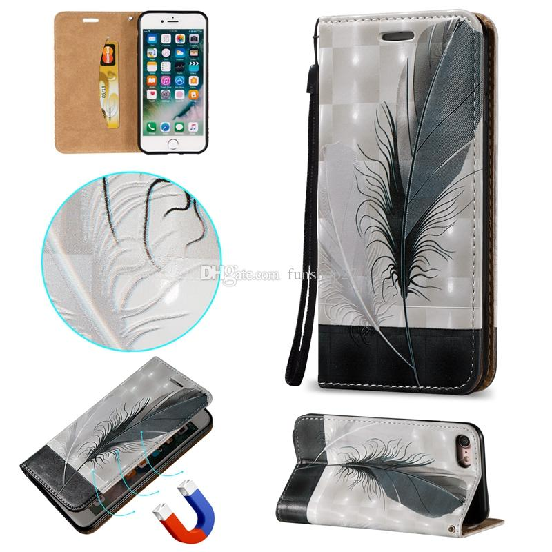 iPhone 7 7 Plus Case Feathers Magnetic Fold Stand Leather Wallet Phone Cases for Apple iPhone 6 6s Plus 5s BB0278A01