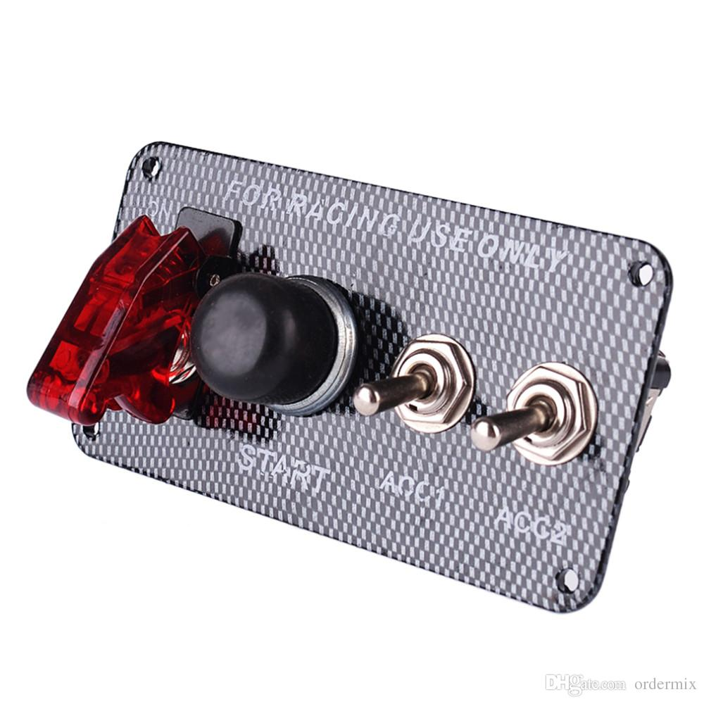 3061 Racing Style Car 12V Ignition Switch Engine Start Push Button 3 Toggle Panel with Indicator Light DIY Car Modification Accessory