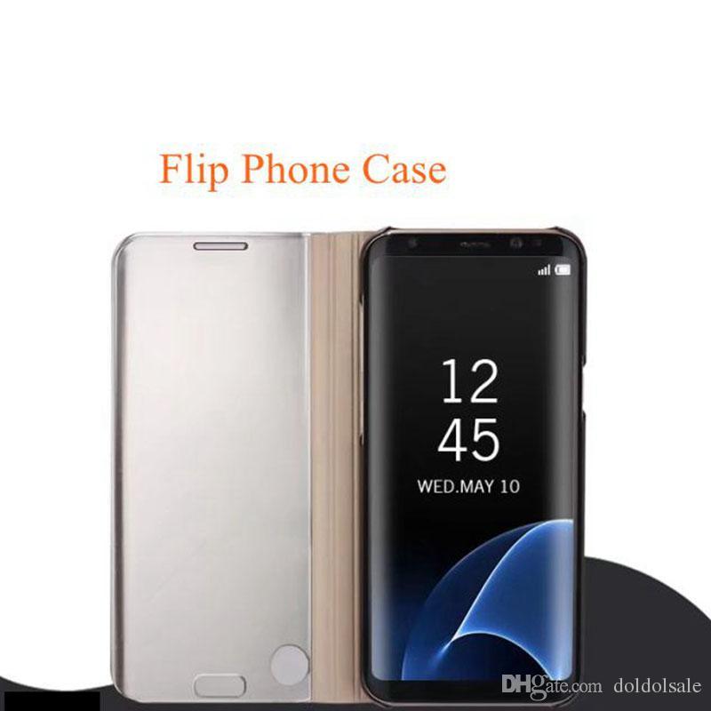 삼성 갤럭시 S6 Edge Plus S7 Edge S8 플러스 노트 5 용 럭셔리 미러 클리어 뷰 케이스 참고 8 전화 커버 도금베이스 수직 스탠드