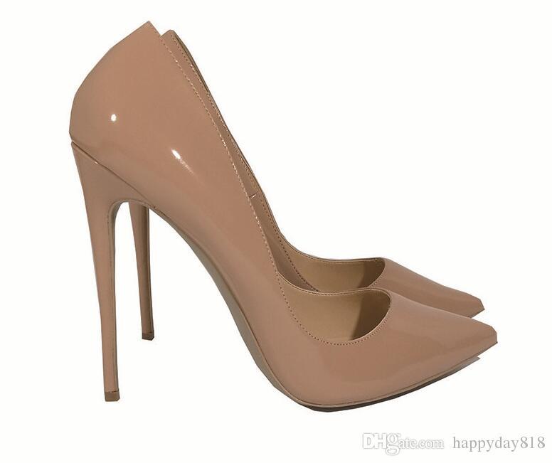 Gerçek fotoğraf Moda Kadınlar Çıplak Siyah kırmızı Rugan Ayakkabı Kadınlar Düğün için Sivri Turuncu Seksi Yüksek Topuklu Ayakkabı Pompalar 12 cm stilettos