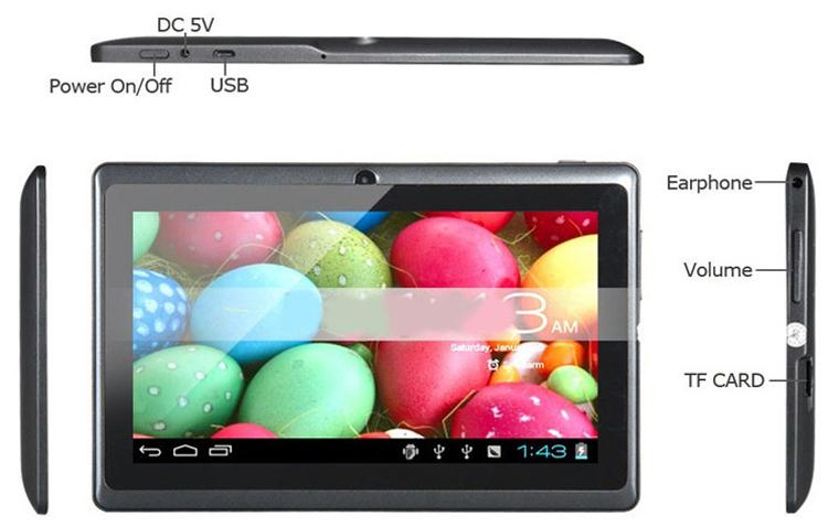 Q88 7 Polegada Android 4.4 Tablet PC Núcleo Duplo 1024 * 600 Allwinner A33 Capacitivo MID 512 MB 8 GB tablet
