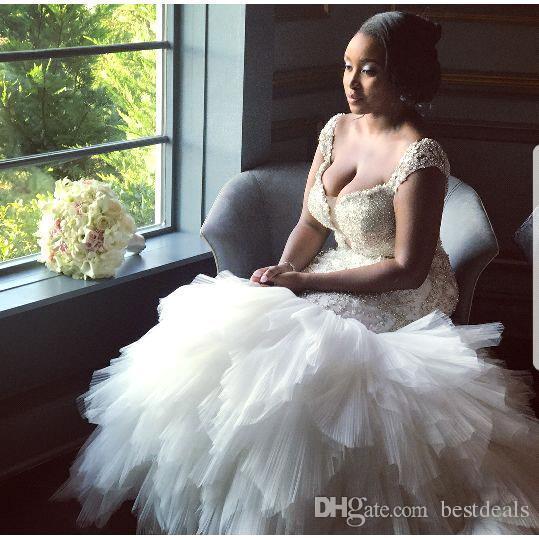 African Style Plus Size Mermaid Wedding Dresses 2018 Cap Sleeves Beaded Crystal Ruffled Tulle Puffy Wedding Gowns Vestidos De Noiva