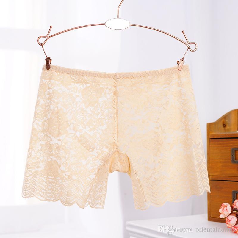 Senhoras das senhoras por atacado sexy underwear rendas Bordado Rose transparente respirável confortável segurança básico menino calções cuecas # 419