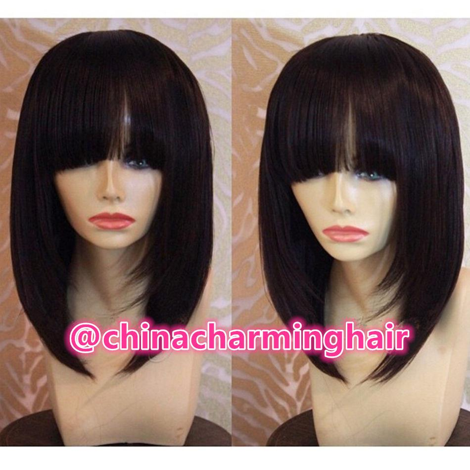 Straight Bob Wigs Human Hair Short bang Bob style Wigs for Black Women Bob Cut with bang