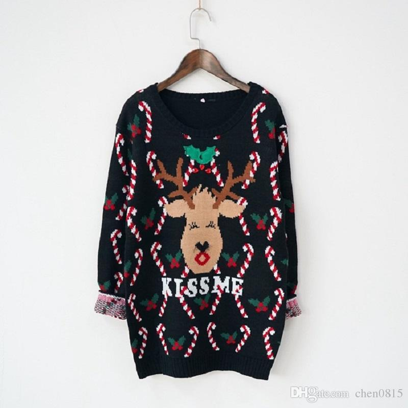 Best Wholesale Christmas Sweater Women Cartoon Deer Kiss Me Print ...