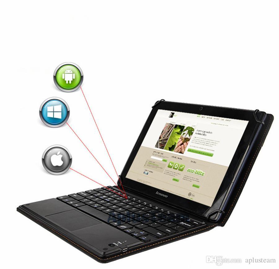 حار بيع اللاسلكية بلوتوث 3.0 لوحة المفاتيح جلدية القضية القابلة للإزالة مع لوحة اللمس للكمبيوتر اللوحي أبل الروبوت 7 9 10