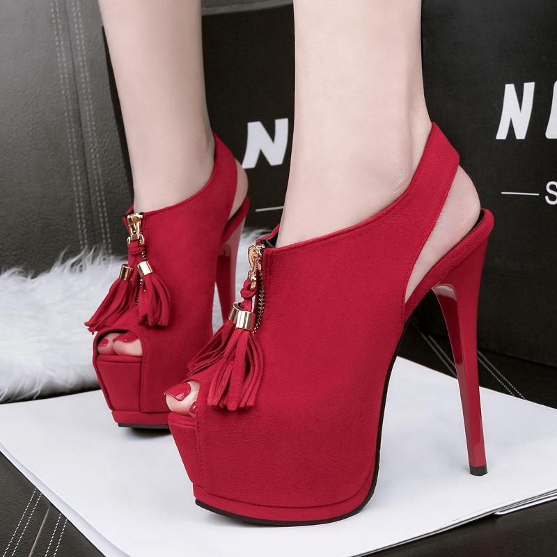 b34dd8ce476425 Tassels Zipper Lady Dress Shoes Women Pumps Heels Suede Peep Toe ...