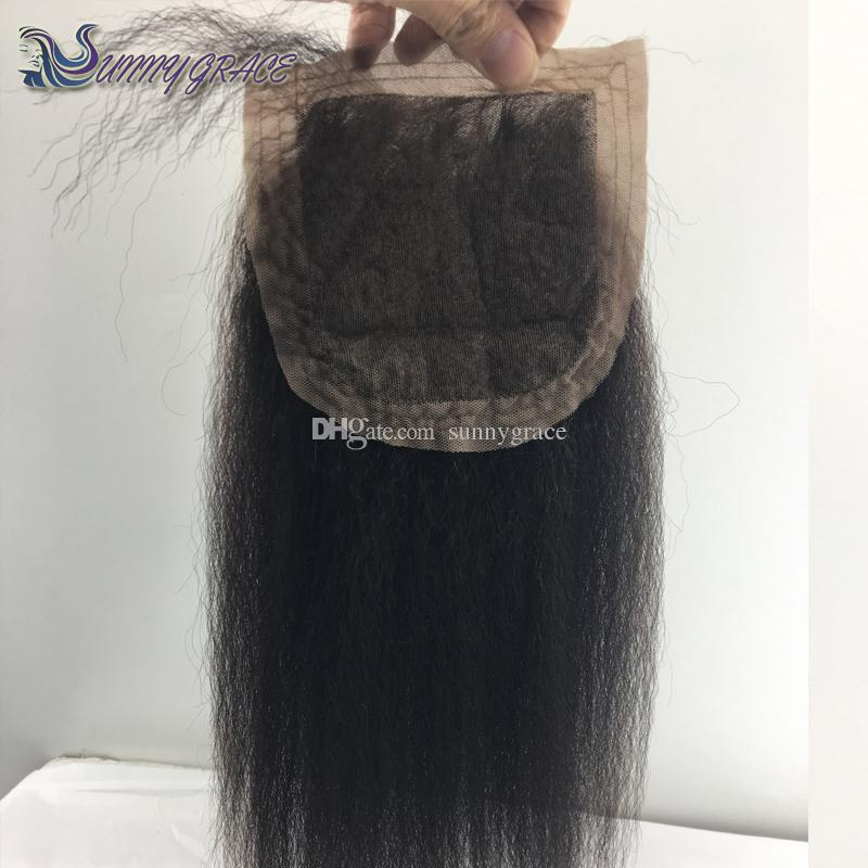 Silk top Closure 4x4 Italian kinky straight real Human Hair silk base closure free middle 3 way part