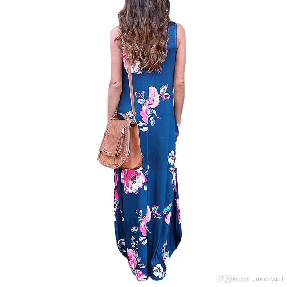 2017 여름 여성 드레스 긴 해변 드레스 큰 크기 불규칙한 해변 의류 Femme 플러스 크기 긴 드레스 여름 꽃 Sundress