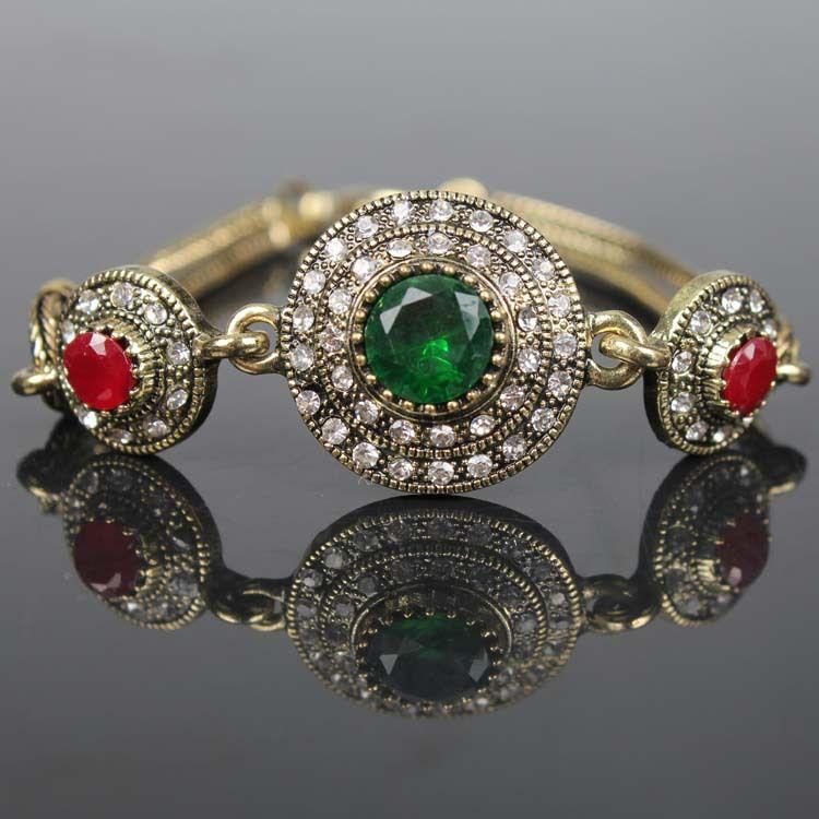 Antike Vergoldete Vintage Armreifen Harz Armbänder Frauen Pulseiras Feminino Grün Pulseras Türkische Armband Bijouterie