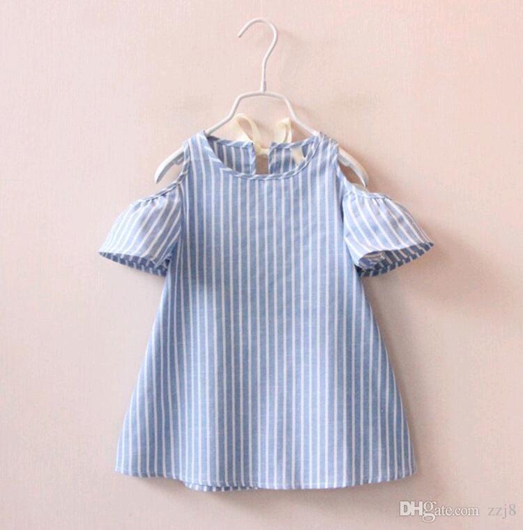 스위트 키즈 소녀 인형 드레스 귀여운 여름 줄무늬 퍼프 슬리브 리본 리본 Sholderless 캐주얼 드레스 블루 컬러 한국어 패션 드레스