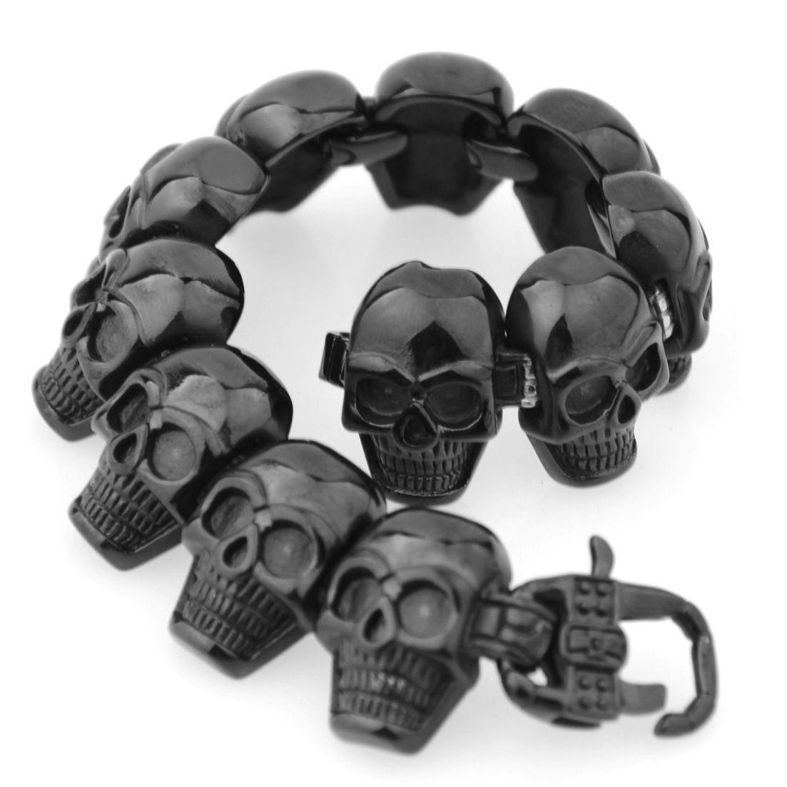 Hip hop Stainless Steel Men's Skeleton Skull Head bracelets Big Huge Heavy Solid Ghost bangle motorcycle Biker Punk Jewerly