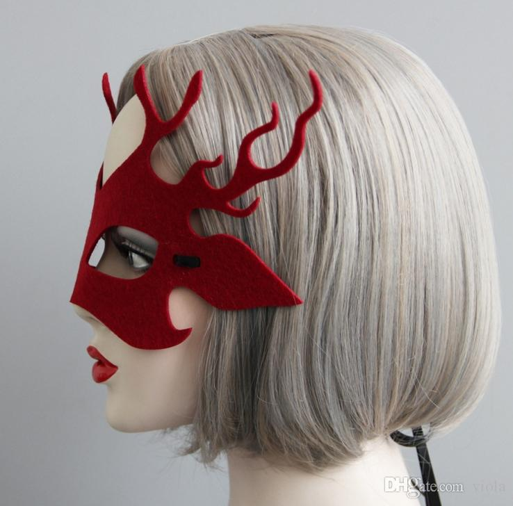 Women Christmas Masquerade Antlers Mask Cosplay Party Props Halloween Deer Horn Party Mask Half Felt Mask