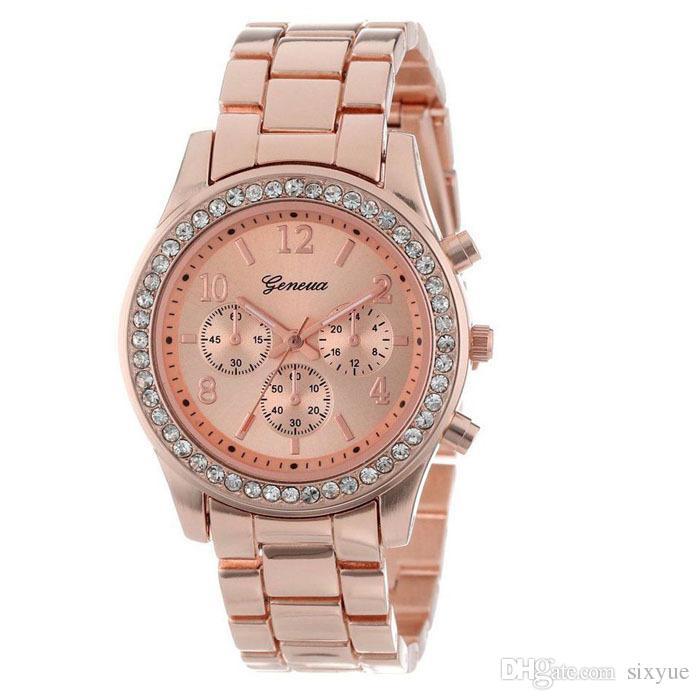 Le donne ginevra metallo acciaio lega orologi moda signore di lusso vestito di diamanti al quarzo regalo analogico mens orologi i