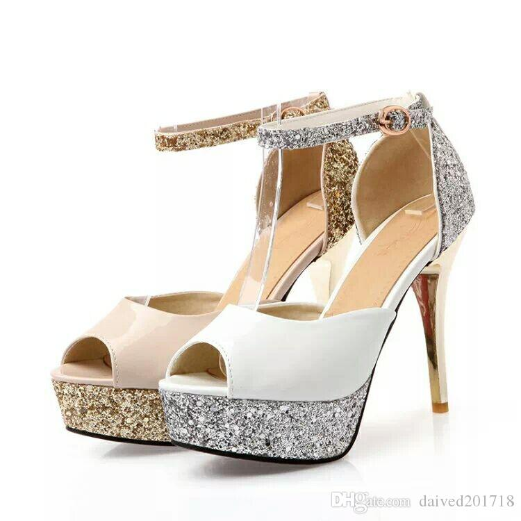9e12e3160fd Glitter Sequined Ankle Strap High Platform Peep Toe Pumps Party Prom Gown Wedding  Shoes Women Sexy High Heels Size 34 To 39 Suede Shoes Pumps Shoes From ...