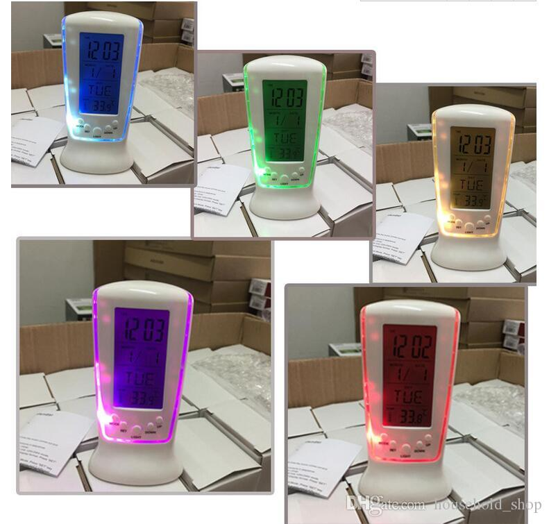 MINI LED Alarm Clock Colors Changing Clocks Calendar Date Thermometer Electric Clocks for Kids Table Desk Home Decoration