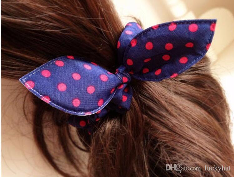 Hot girl women cute mix styles randonly rabbit ear hair rope hair rubber bands Polka dot leopard trip Rabbit Ears scrunchy Hair tie