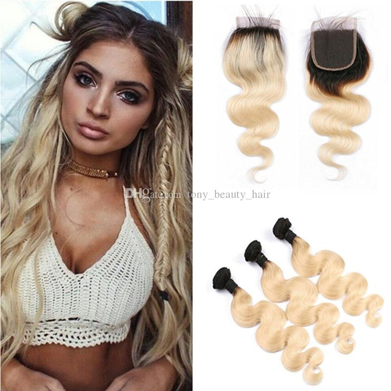 Ombre Brazilian Body Wave Hair Weaves With Top Closure T1b 613 Two