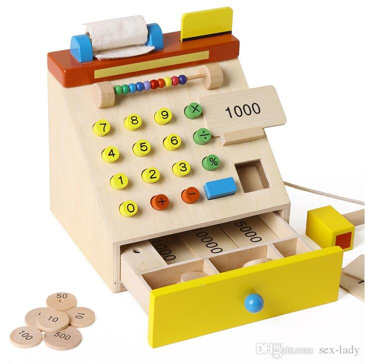 Baby Toys Simulation Cash Register Wooden Toys Children Educational Cash Register Pretend Play Furniture Toys Child Christmas Gift