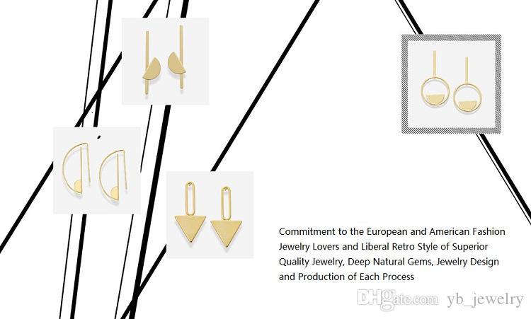 YC High Quality Europe & USA 14 k Gold Plated Geometry Dangle Earrings Women's Fashion Stud Earrings Original Creative Design Factory Price