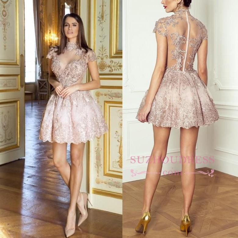 Modern Lace High Neck Pearl Pink Short Homecoming Dresses