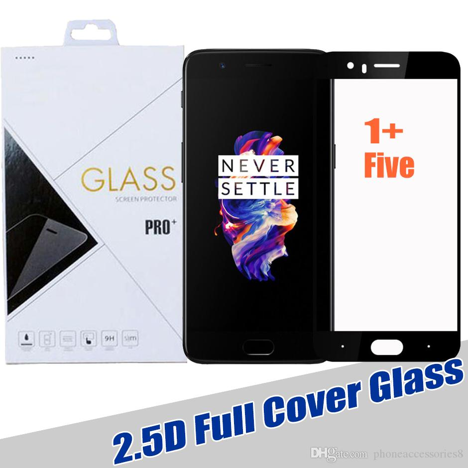 finest selection 73035 0375c 2.5D One plus five temmpered glass screen protector for 1 plus 5 1 5 full  cover tempered glass film in retail pack