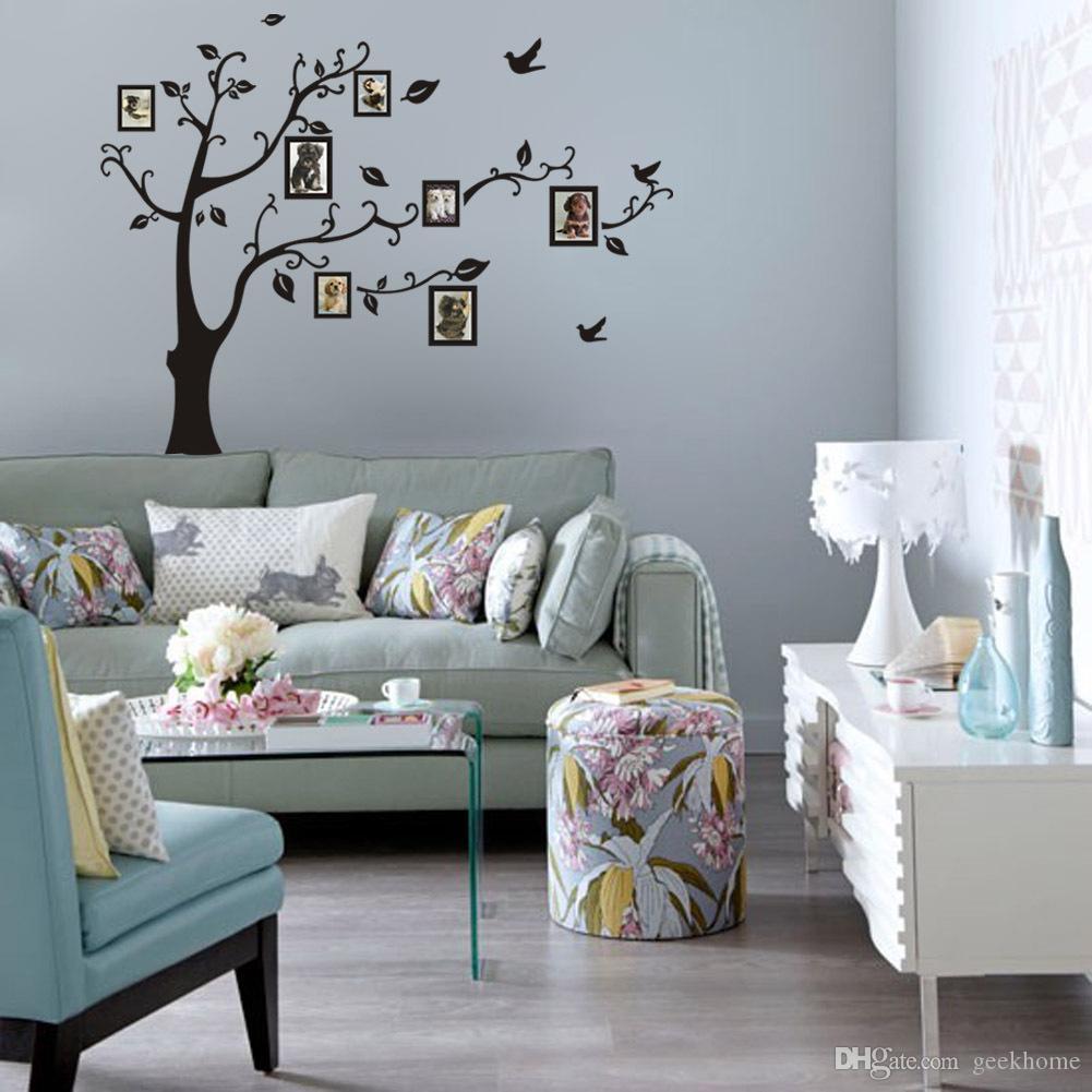 Venda quente Tamanho Grande Preto Família Photo Frames Adesivos de Parede Árvore, DIY Decoração de Casa Decalques de Parede Moderna Murais de Arte para Sala de estar