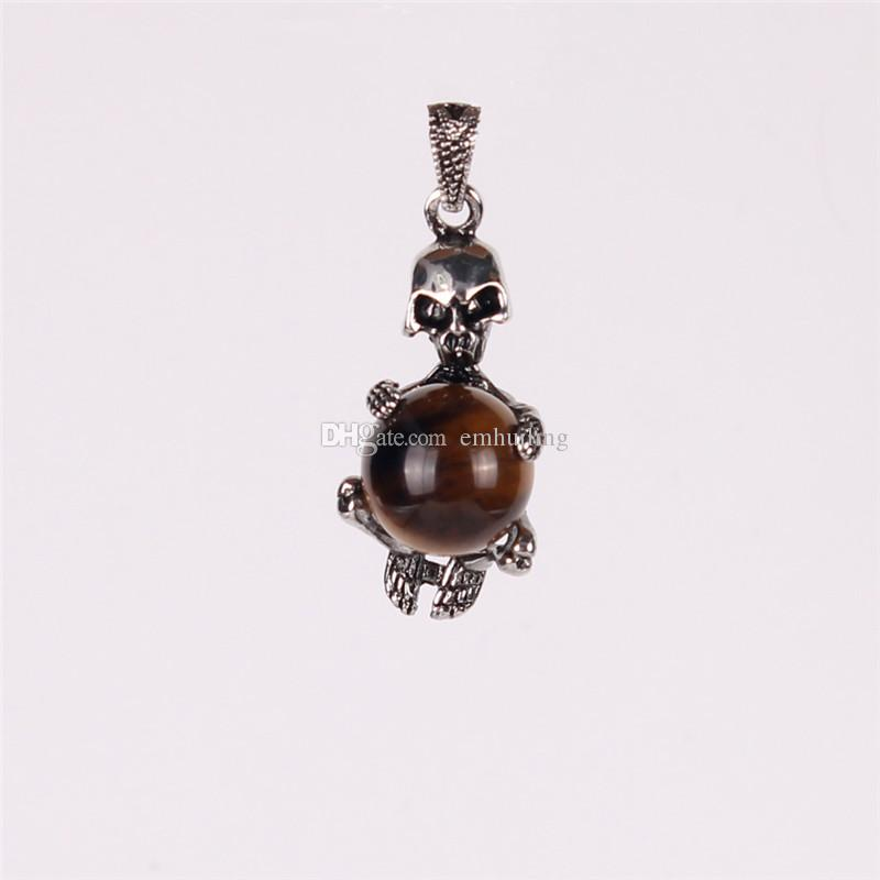 Skull Skeleton 16mm Moving Pietersite Jasper Druzy Crystal Rose Quartz Gems Ball Fantastic Lucky Pendant for DIY Making Women Charm Jewelry