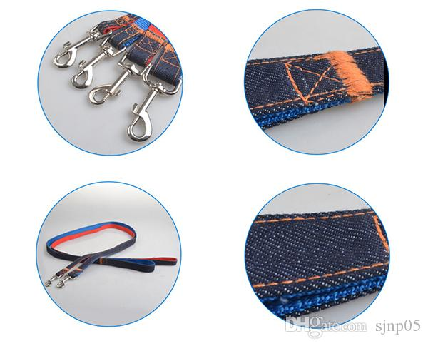 New 150CM Fashion Denim Nylon Rope Dog Leashes Double Color Jean Cloth Pet Dog Puppy Strap Retro Pet Products Wholesale