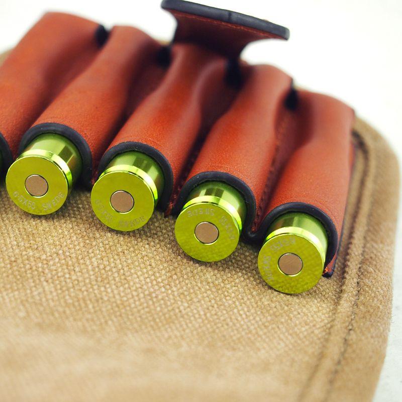 Livraison Gratuite Tourbon Chasse Pistolet Accessoire Tactique Munitions Titulaire Toile et Cuir Fusil Bullet Carrier Cartouches Pochette