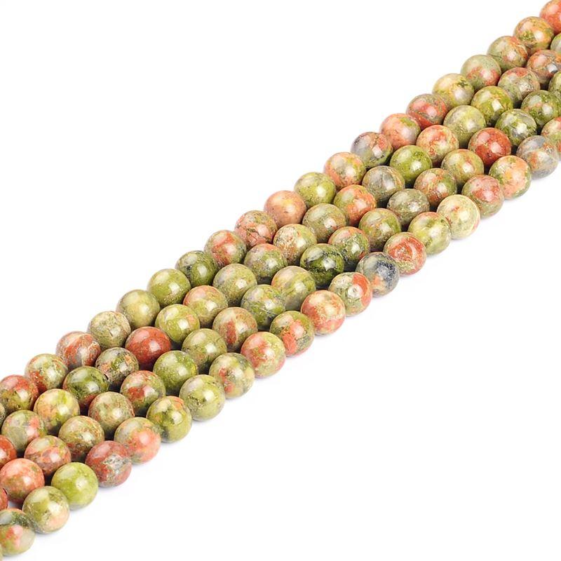 Beads Faceted Natural Stone Unakite Loose Beads 4 6 8 10 12 Mm Pick Size For Jewelry Making Charm Diy Bracelet Necklace Material Pretty And Colorful