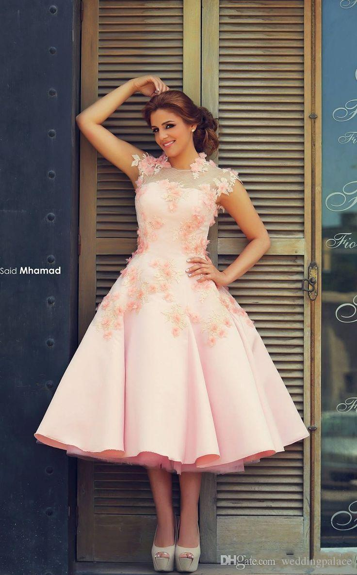 2018 Saudi Arabic Pink Prom Dresses Ruffly Skirt Vintage Tea-length Formal Gowns Homecoming Party Dresses Evening Gowns