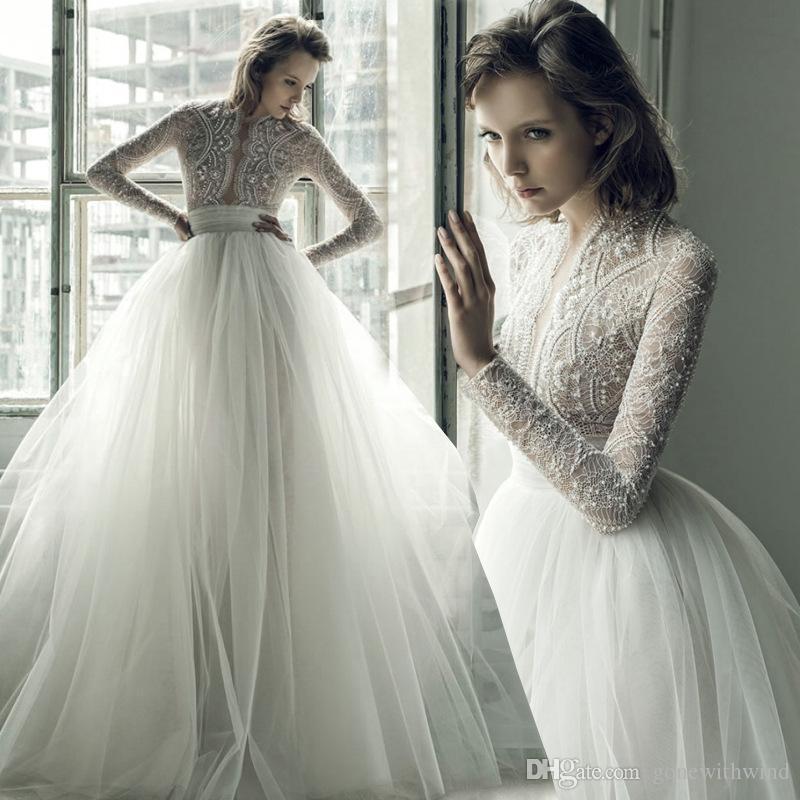 bb41947cdcc Богемские свадебные платья 2017 Ersa Atelier длинные рукава вышивка кружева  лиф