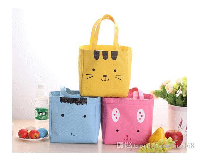 Bolsas de almuerzo lindas de lona Bolsas de almacenamiento del trabajador de oficina de estudiante de gato Kid Bolsas de alimentos Aislamiento de bebida de fruta / Bolso de refrigerador de hielo Productos