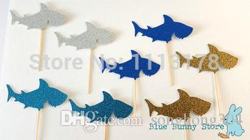 Custom personality Glitter Cupcake Toppers Food Picks Bachelorette Sharks Ocean Fish Nautical Wedding Bridal Engagement Party decorations