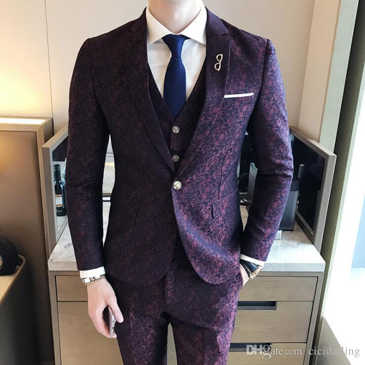 High Quality New Design Men Wedding Party Suits One Button Slim ...